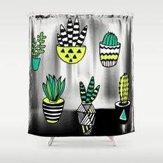 Cactus neon modern Shower Curtain