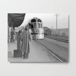 Streamlined Train at Station, 1940. Vintage Photo Metal Print