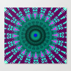 Lovely Healing Mandala  in Brilliant Colors: purple, pink, teal, and green. Canvas Print