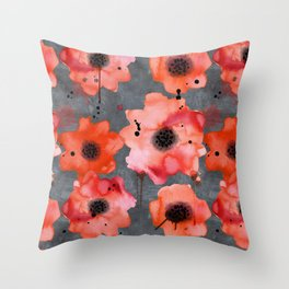 Watercolor poppies on gray background Throw Pillow