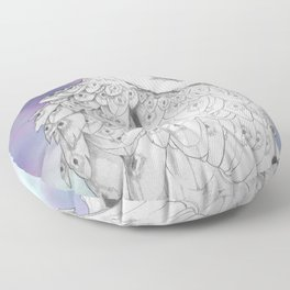 Owl with a third eye and crystal ball Floor Pillow