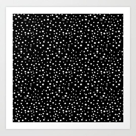 PolkaDots-White on Black Art Print