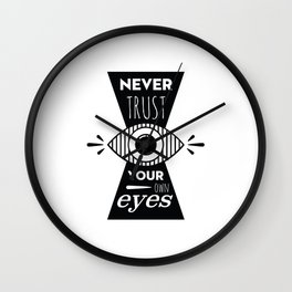Graphic Poster - Never Trust your own eyes - Quatreplusquatre revisits Obey® Wall Clock
