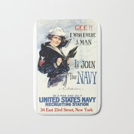 Vintage U.S. Navy Recruitment Poster Bath Mat