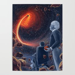 Ghosts in the Sky: Stephen Hawking and Albert Einstein Poster