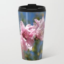 Close Up Peach Tree Blossom Against Blue Sky Travel Mug