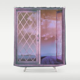 Lavender Fields in Window Shabby Chic original art Shower Curtain