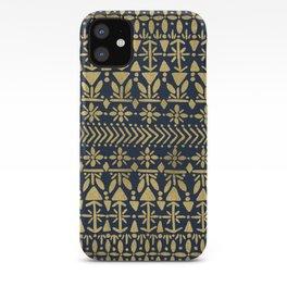 Norwegian Pattern – Gold on Navy iPhone Case