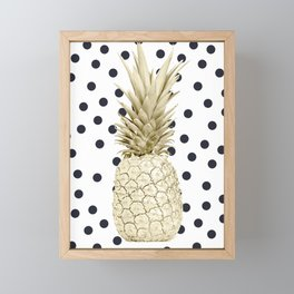 Gold Pineapple on Black and White Polka Dots Framed Mini Art Print