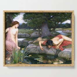 Echo and Narcissus by John William Waterhouse Serving Tray