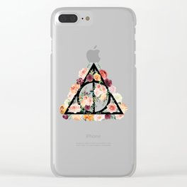 Watercolor Deathly Hallows Clear iPhone Case