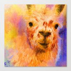 Jazzy Llama Colorful Animal Art by Jai Johnson Canvas Print