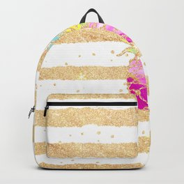 Modern pink watercolor pineapple faux gold glitter stripes Backpack