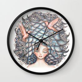 Claudette Head in the Clouds Wall Clock