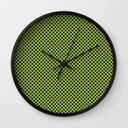 Lime and Black Polka Dots Wall Clock