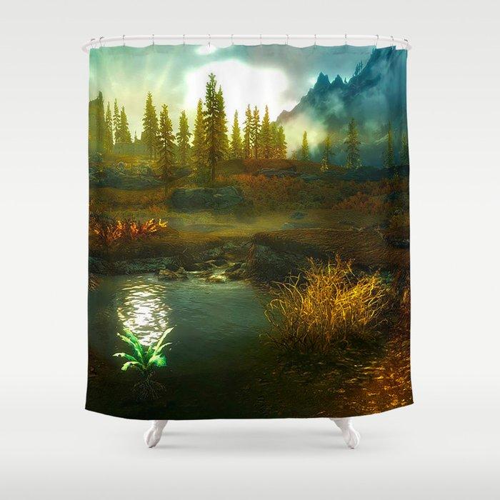 Landscape Of Skyrim Shower Curtain