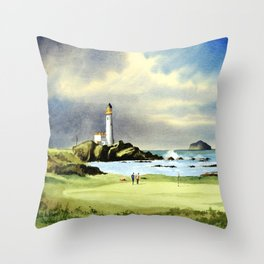 Turnberry Golf Course 10th Green Throw Pillow