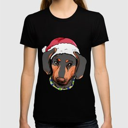 Dachshund Dog Christmas Hat Present T-shirt