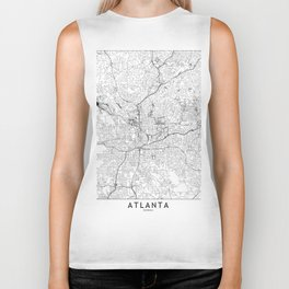 Atlanta White Map Biker Tank