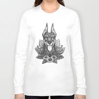 doberman Long Sleeve T-shirts featuring Doberman & Daisies by Britt Sorensen