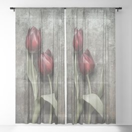 Red Tulips II Sheer Curtain