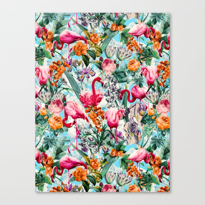 Floral and Flamingo VII pattern Canvas Print
