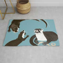 Asiatic and African clawless otter Rug