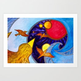 Surf Birds: No Limits Art Print