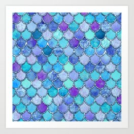 Colorful Blues Mermaid Scales Art Print