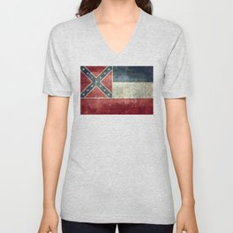 Mississippi State Flag - Distressed version Unisex V-Neck