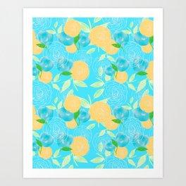 06 Yellow Blooms on Blue Art Print