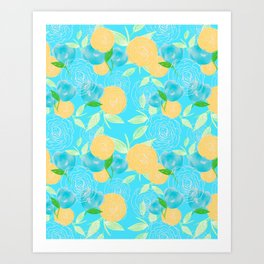06 Yellow Blooms on Blue Art Print