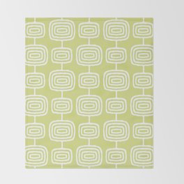 Mid Century Modern Atomic Rings Pattern 731 Chartreuse Throw Blanket