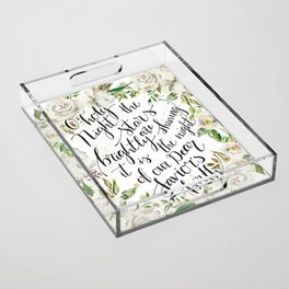 O holy night with white flowers Acrylic Tray