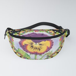 Purple Pansy Portrait Fanny Pack