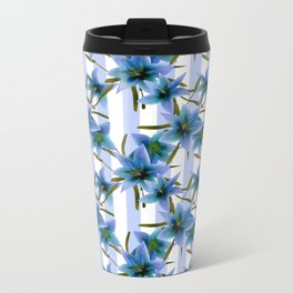 Blue lilies . Metal Travel Mug