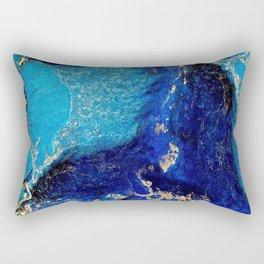 BLUE AND GOLD MARBLE TEXTURE Rectangular Pillow
