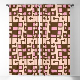 Mid Century Modern Abstract 212 Pink and Brown Blackout Curtain