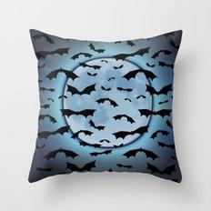 Bats in the Moonlight Throw Pillow