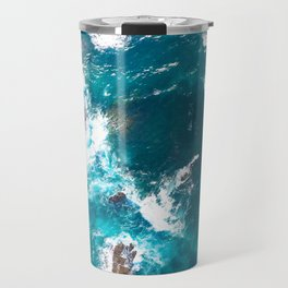Turquoise sea, ocean, coast, Atlantic, Portugal, beach, waves, sea, prints, project, blue, Travel Mug