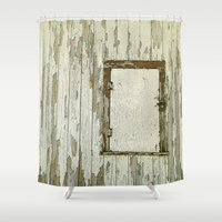 cabin Shower Curtains featuring Yellow Cabin by Nancy Smith