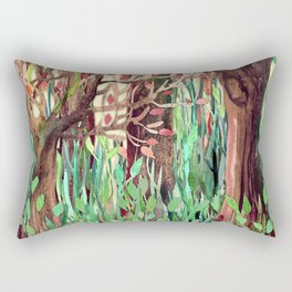 Lost in the Forest - watercolor painting collage Rectangular Pillow