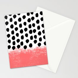 Lola - painted dot minimal coral black and white trendy abstract home decor Stationery Cards