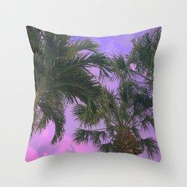 Purple Sky Palms Throw Pillow