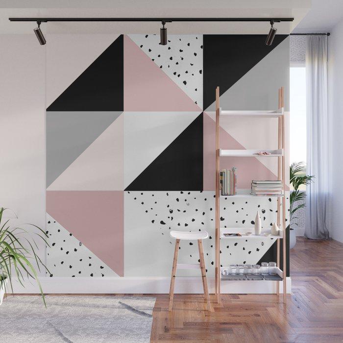 Wall Mural | Geometrical Pink Black Gray Watercolor Polka Dots Color Block by Pink Water - 8' x 8' - Society6