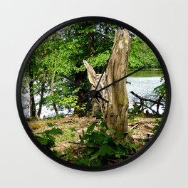 Dead tree with forest and lake photo Wall Clock