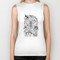 berserk Biker Tanks featuring THE HOUND - WHITE by SOMNIVAGRIOUS