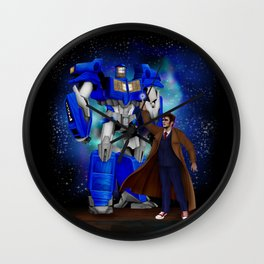 10th Doctor who with Giant retro Robot Phone Box iPhone, ipod, ipad, pillow case and tshirt Wall Clock
