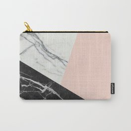 Black and White Marble with Pantone Pale Dogwood Carry-All Pouch