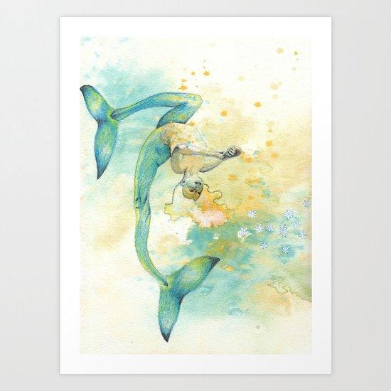 Two-tailed Mermaid Art Print